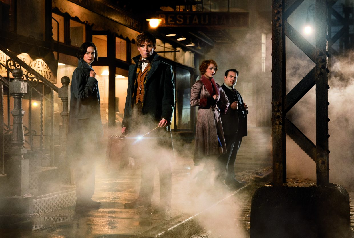 """From left, Porpentina Goldstein, Newt Scamander, Queenie Goldstein and Jacob Kowalski (Katherine Waterston, Eddie Redmayne, Alison Sudol, Dan Fogler) are ready for action in """"Fantastic Beasts and Where to Find Them."""" The movie is a prequel to the """"Harry Potter"""" series set in 1920s New York and featuring a wizard with a variety of magical creatures."""