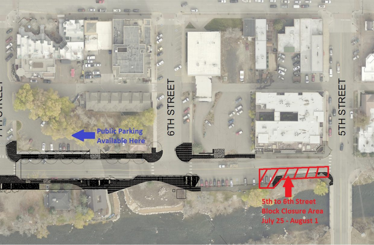 This map shows the Fifth to Sixth street closure area on Yampa Street for the week of July 25.
