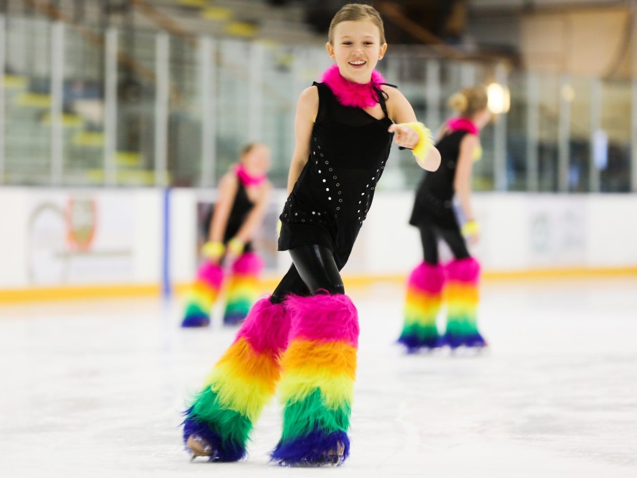 "Marisa Scott skates to ""Car Wash"" from the ""Shark Tales"" soundtrack during dress rehearsal on Thursday at Howelsen Ice Arena. The Steamboat Springs Figure Skating Club will host its annual spring show on Sunday."