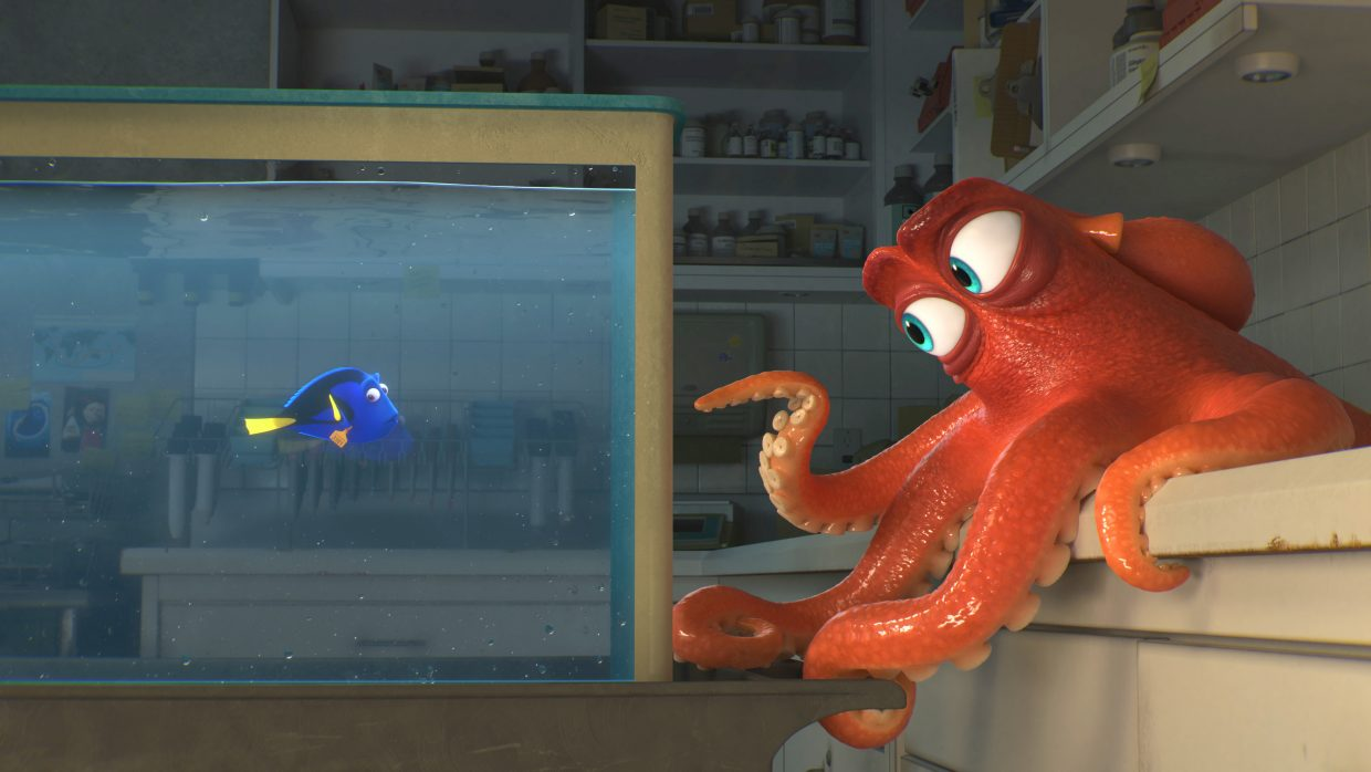 """Dory (voice of Ellen DeGeneres) strikes a deal with her new acquaintance, Hank the octopus (Ed O'Neill) in """"Finding Dory."""" The movie is a sequel to Pixar's """"FInding Nemo"""" and follows Dory as she attempts to find her family."""