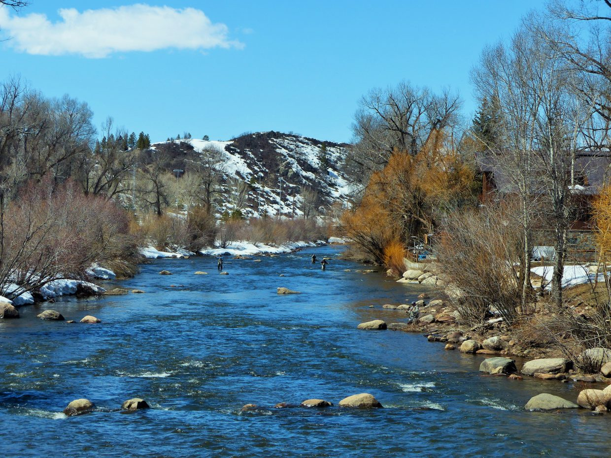 I count FOUR people fishing the Yampa River, taken from the 5th Street Bridge. Submitted by Shannon Lukens.
