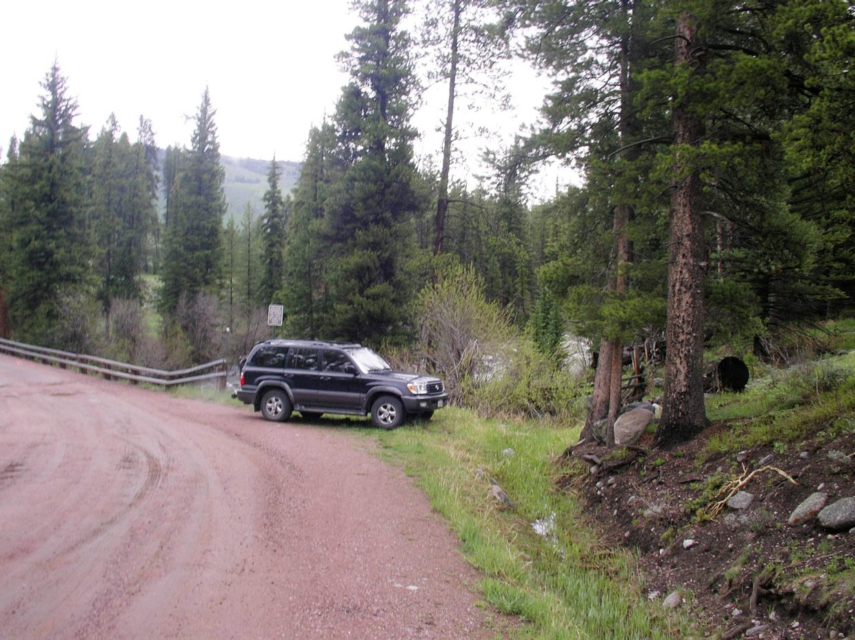 Top: Jeff Fossum's 2002 Toyota Landcruiser was found by a bridge in Hinman Park near the Southfork Trailhead off Seedhouse Road about 20 miles north of Steamboat.