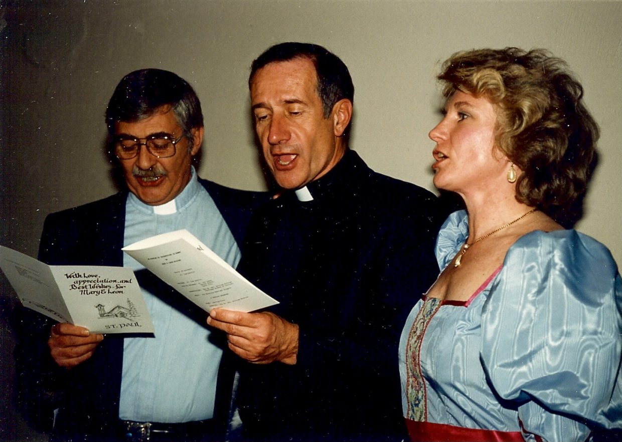 The life of the late Rev. Leon Ray Wilkins, who served St. Paul's Episcopal Church in Steamboat Springs for 16 years, will be celebrated at 10:30 a.m. Wednesday at the local church. Wilkins, far left, is pictured with Father Tom Dentici and Nancy Kramer during Wilkins' retirement reception in 1988.