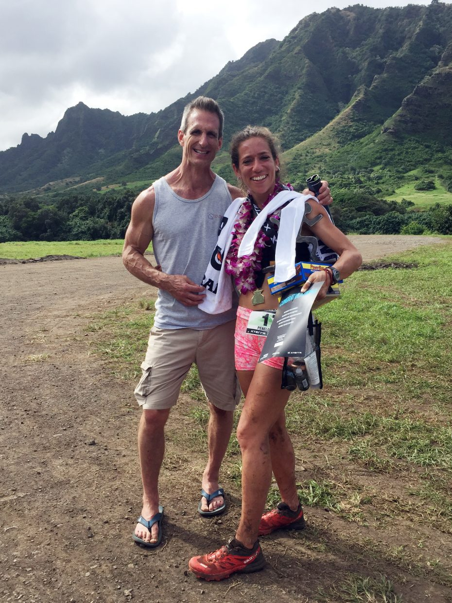 Steamboat Springs runner Penelope Freedman, right, poses for a picture with her strength and conditioning coach, Charlie Chase, following Sunday's XTERRA Trail Run World Championship in Hawaii.