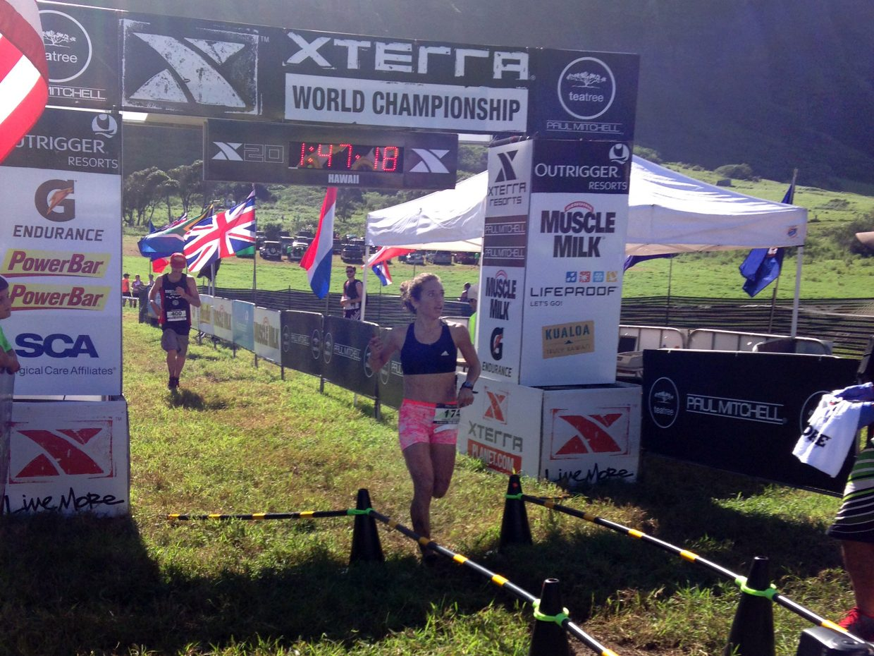 Steamboat Springs runner Penelope Freedman crosses the finish line Sunday at the XTERRA Trail Run World Championship in Hawaii. Freedman finished third overall among women.