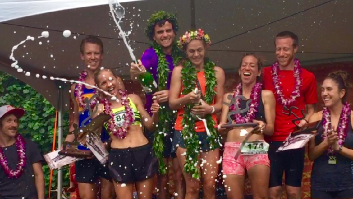 Steamboat Springs runner Penelope Freedman, pink shorts, celebrates after taking third among women in Sunday's XTERRA Trail Run World Championships in Hawaii.
