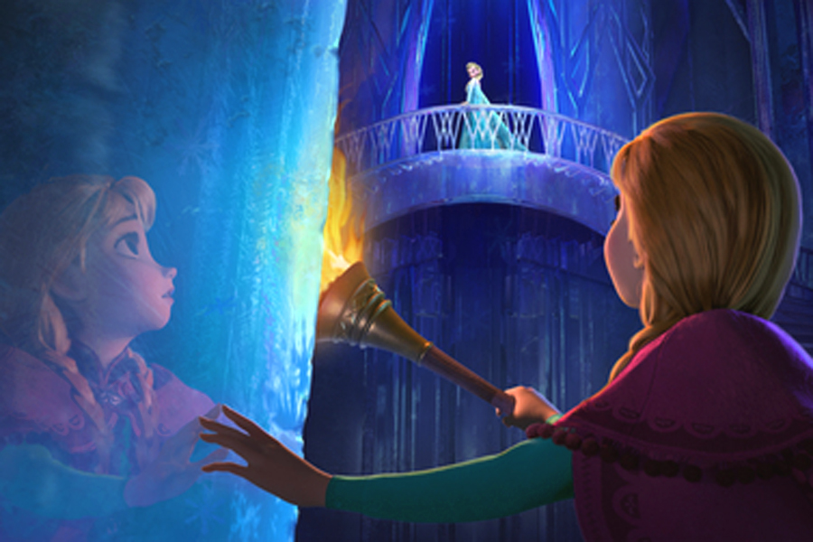 """Anna (voice of Kristen Bell) enters the ice palace of her sister Elsa (Idina Menzel) in """"Frozen."""" The movie is about a princess whose sister's magical powers over cold weather cause chaos for their kingdom, a story inspired by Hans Christian Andersen's """"The Snow Queen."""""""