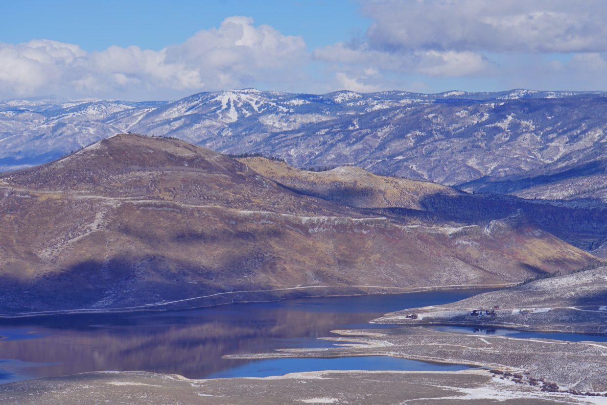 Steamboat ski area and Stagecoach Lake as seen from Stagecoach Mountain. Submitted by Lana Turner.