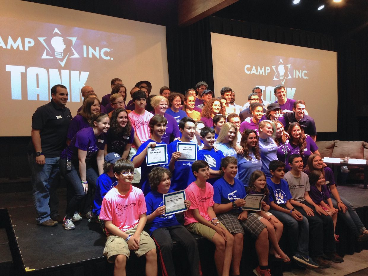 Camp Inc. campers after the final pitches at the Camp Inc. Tank on Friday at Chief Theater.
