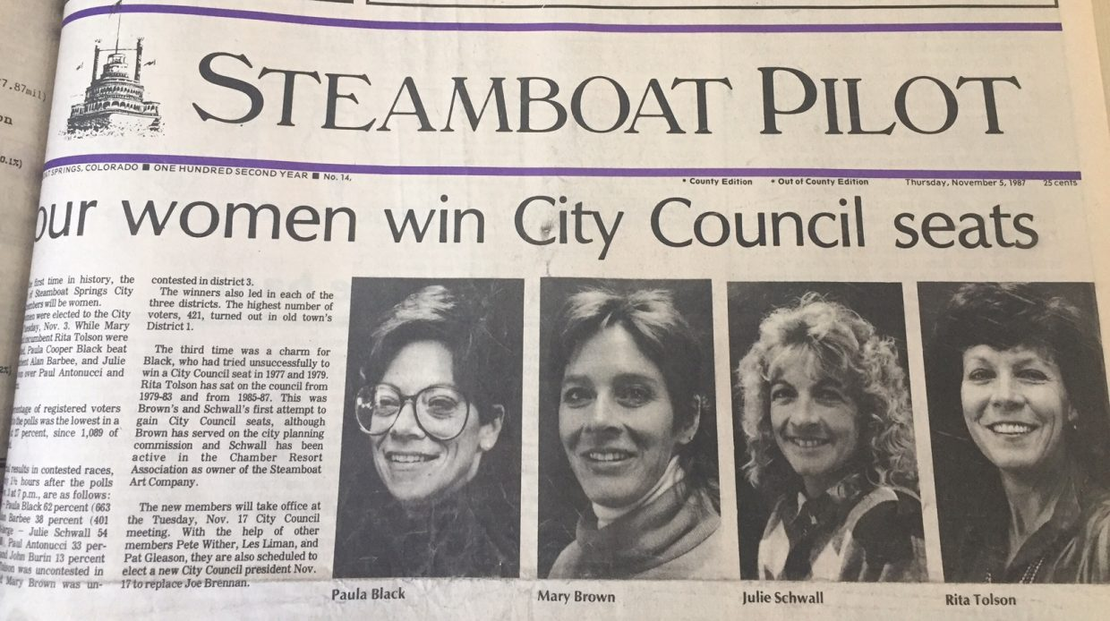 The first time a Steamboat Springs City Council had a majority of women serving was in 1987. The four women on that council included, from left, Paula Cooper Black, Mary Brown (Tomasini), Julie Schwall and Rita Tolson (Valentine).