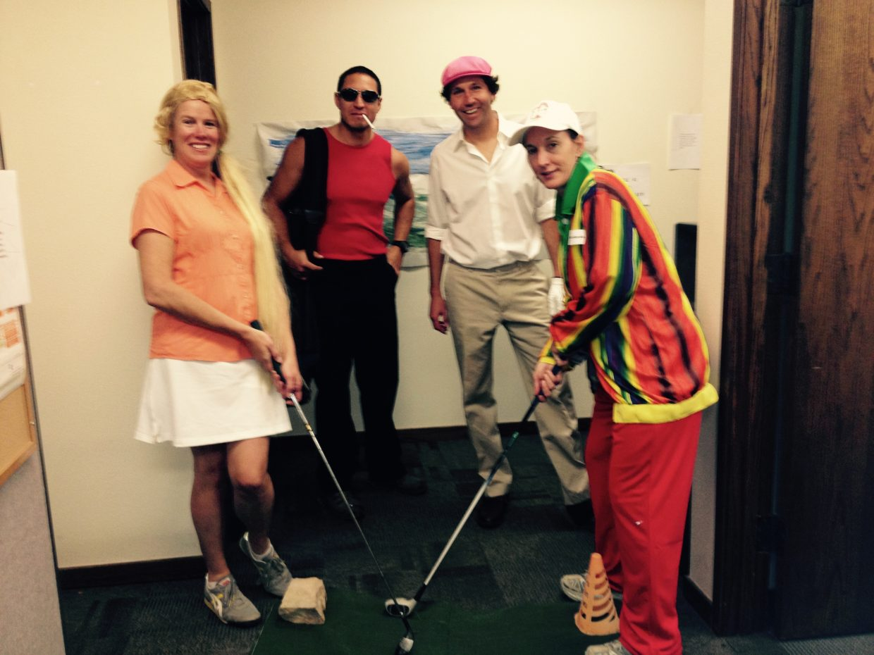 The County offices for Road and Bridge & CSU Extension went all out with their Caddyshack theme witch included several golf holes throughout their offices. Submitted by: Tami Thurston.