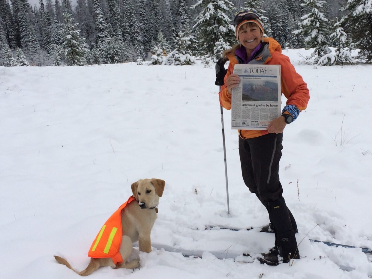 Linda & Crispy Creme Danter getting 1st Tracks, West Summit Loop, Rabbit Ears Pass. October 1, 2014. Submitted by: Rich Danter