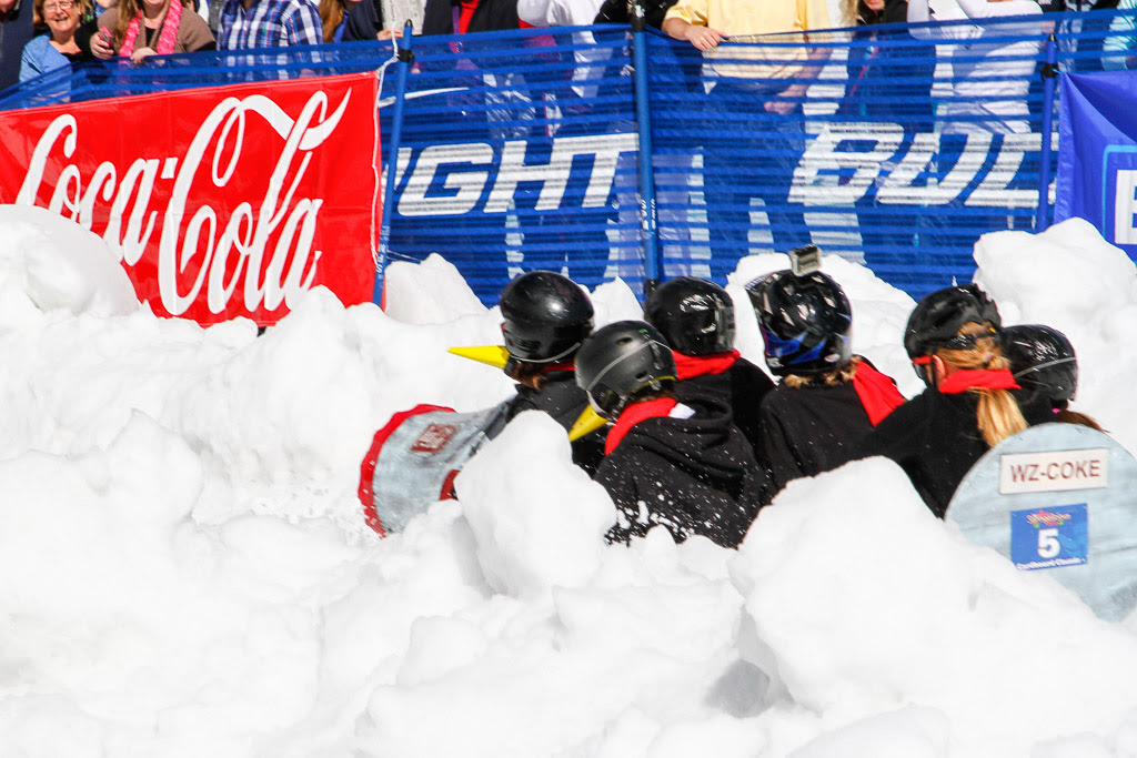 """""""Cardboard Classic - Coke bottle speeds down the course."""" Submitted by George Fargo."""