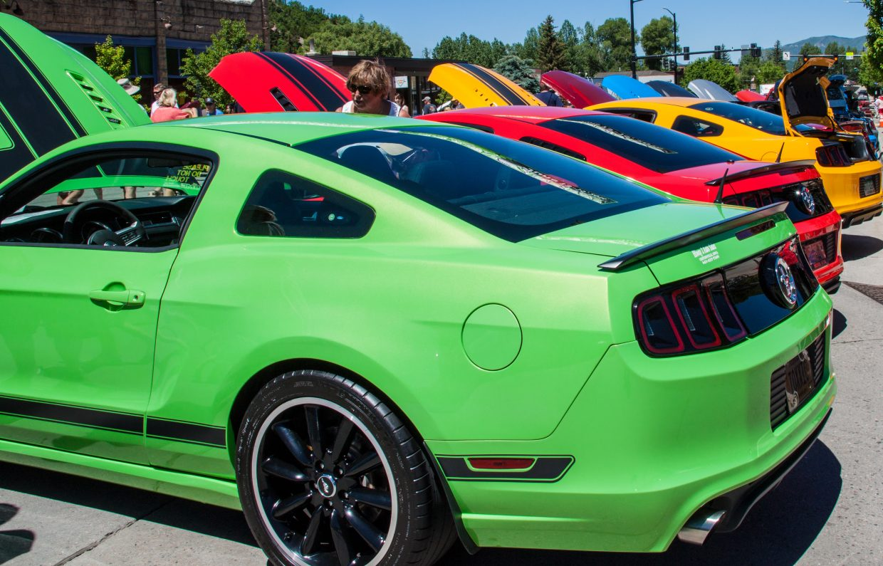 Colorful Mustangs displayed on Lincoln Ave. Submitted by G. Fredrick Reynolds.