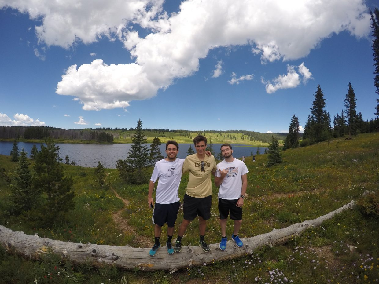 Hello! My name is Emily and I'm staying with this lovely group of guys (Alex, Ryan and Jack) here in Steamboat for the summer. We are all from the east coast (NY-DE) and decided to come out to Colorado for cross country/track training. I have been reading the paper every morning and saw the section about sending in a photo so I just wanted to give it a shot.  Thank you Submitted by Emily Ritter.