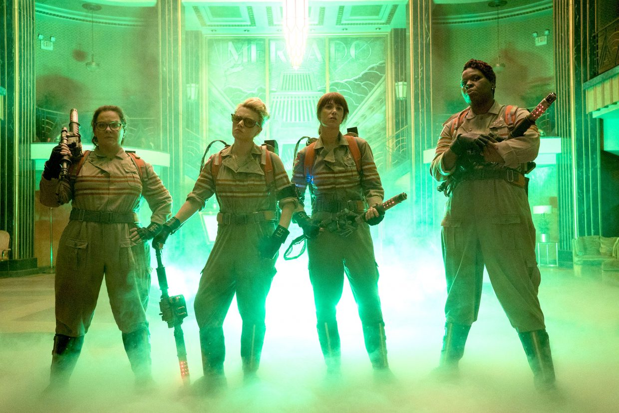"""Paranormal investigators Abby Yates, Jillian Holtzmann, Erin Gilbert and Patty Tolan (Melissa McCarthy, Kate McKinnon, Kristen Wiig, Leslie Jones) are ready for action in """"Ghostbusters."""" The movie is a remake of the 1984 horror comedy."""