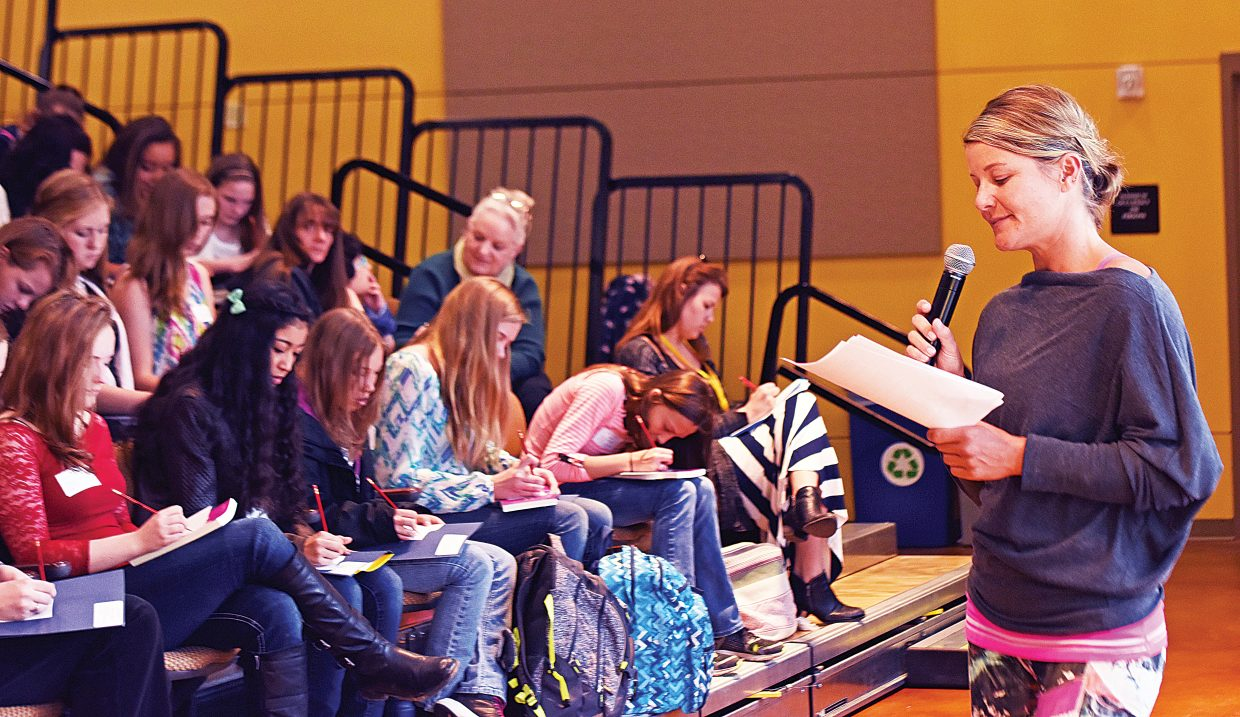 Keynote speaker Sarah Coleman addresses this year's class of eighth-graders Tuesday during the Girls to Women Conference at the Colorado Mountain College campus in Steamboat Springs.