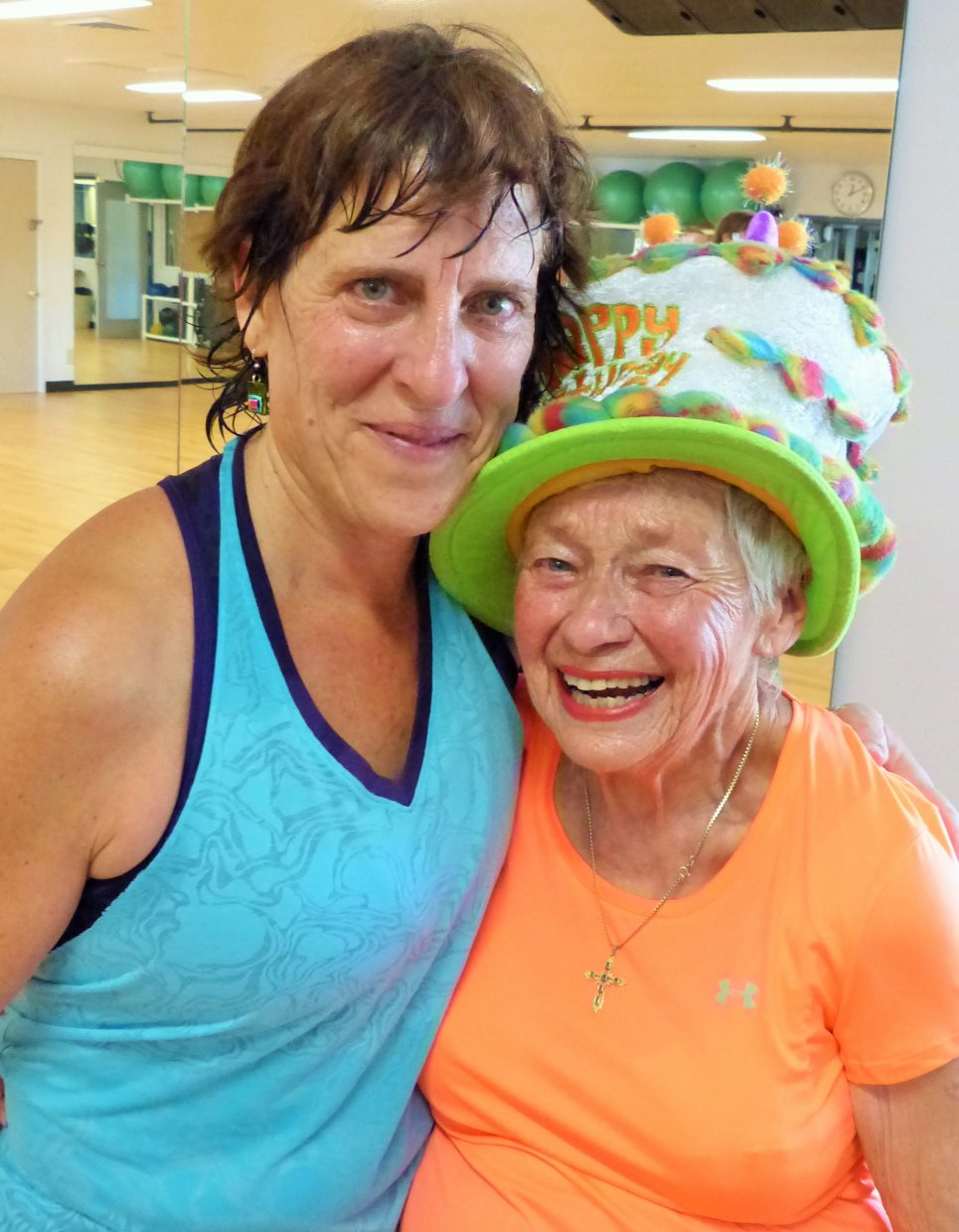 Giselle Miller celebrated her 81st birthday Saturday, with a very fun Zumba Fitness dancing class. Giselle is a regular! She is shown here with Zumba instructor Jodi Glaisher. Submitted by Shannon Lukens.