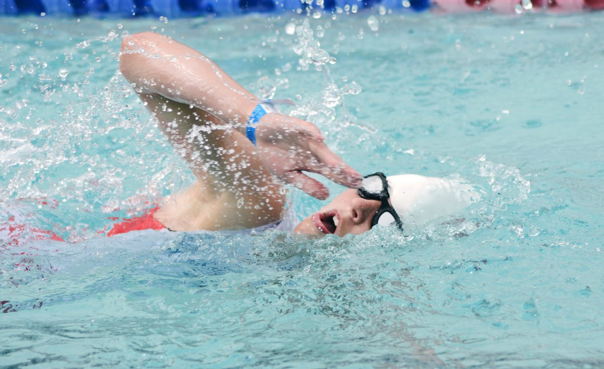 Maddy Walinchus swims her quarter-mile in the first Give it a Tri sprint triathlon held at and around Old Town Hot Springs on Saturday morning. Competitors of all ages and abilities competed in the inaugural event. Walinchus was in the 15-17 youth class.