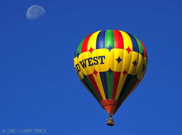 A hot air balloon floats over Steamboat on Tuesday morning.