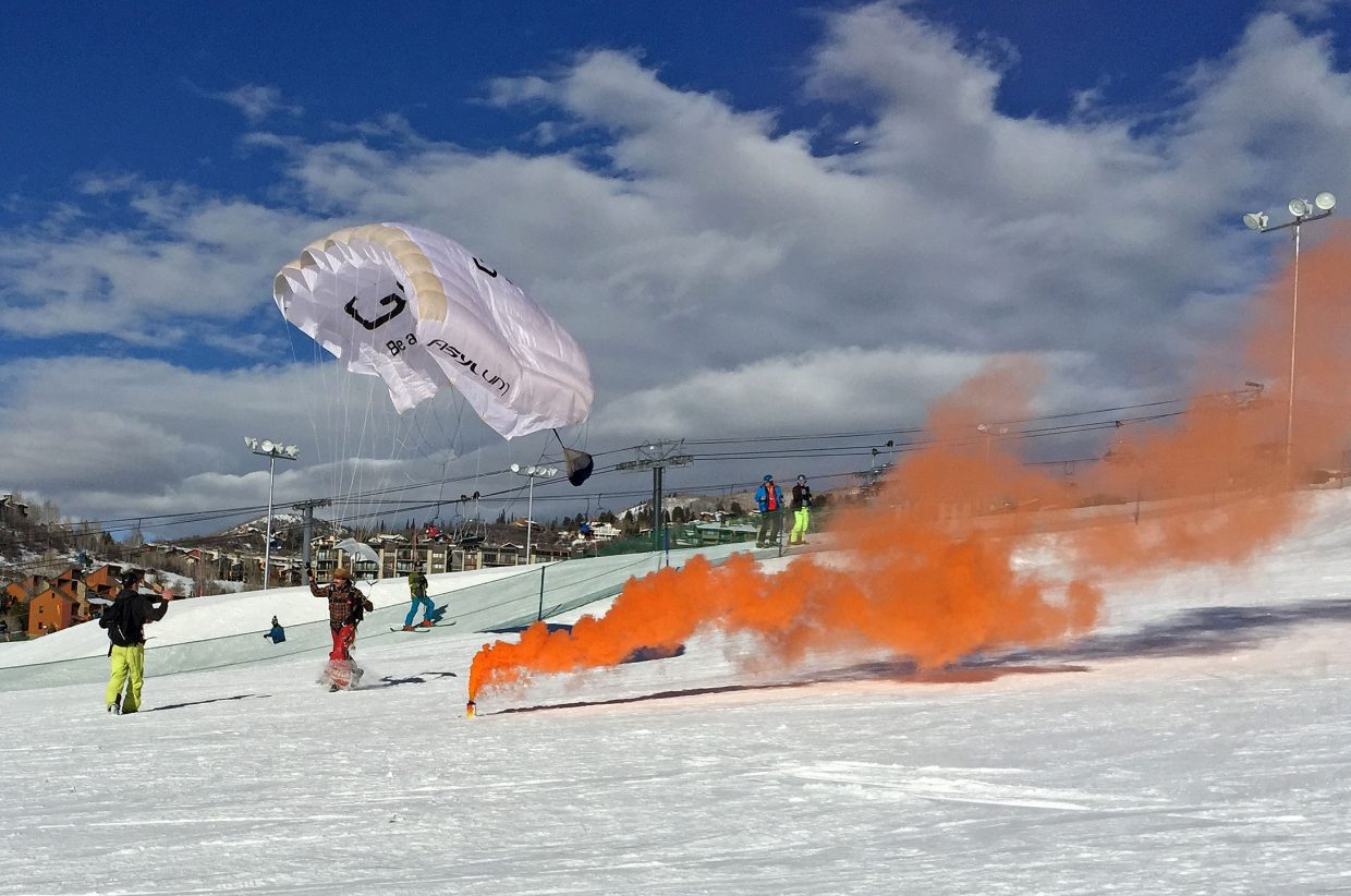 The GoPro Bomb Squad made a practice jump today from 3,500 feet above the slopes of the Steamboat Ski Area this afternoon in advance of the 41st Annual Bud Light Cowboy Downhill. The GoPro Bomb Squad will jump again Monday, January 19, in between the slalom and stampede races during the Bud Light Cowboy Downhill at the Steamboat Ski Resort. Photo submitted by: Michael Lane.