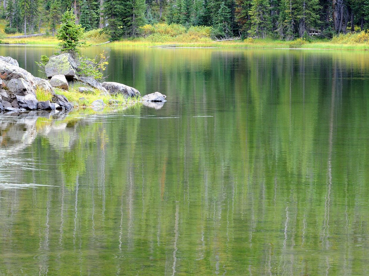 Reflections on Gold Creek Lake in the Mount Zirkel Wilderness Area. Submitted by: Jeff Hall