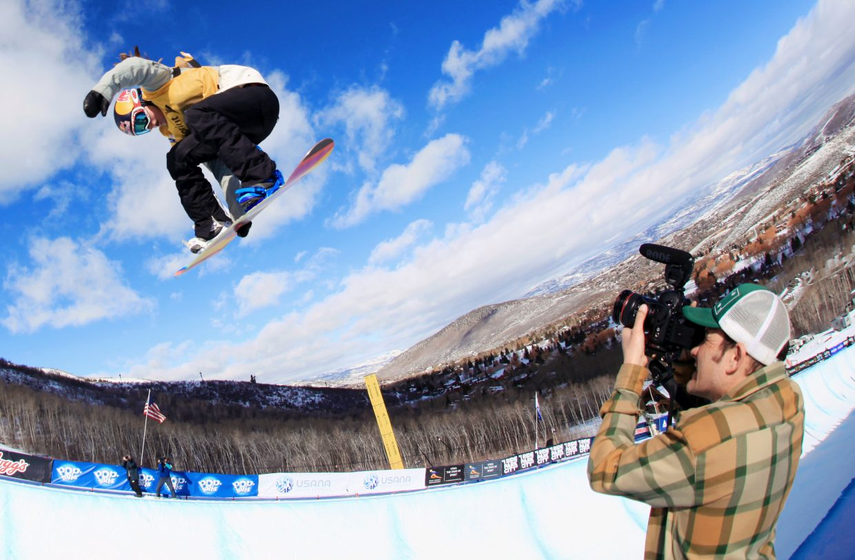 Arielle catches air at a 2013 snowboarding Grand Prix event in Park City, Utah. That season was a good one for Arielle as she broke out and into the top tier of the sport.