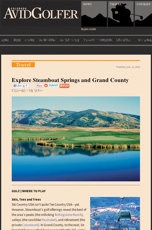 "Colorado Avid Golfer, ""Explore Steamboat Springs and Grand County,"" June 11, 2013"