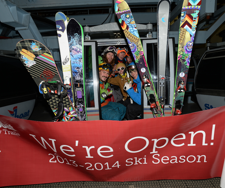 These dedicated skiers started pressing glass at 6:30 a.m. Wednesday, two hours before the scheduled opening of Steamboat Ski Area for the 2013-14 ski season. Among those pictured are James Vanderbeek, Mike Rundel, John Oakland and Mike Vidor.