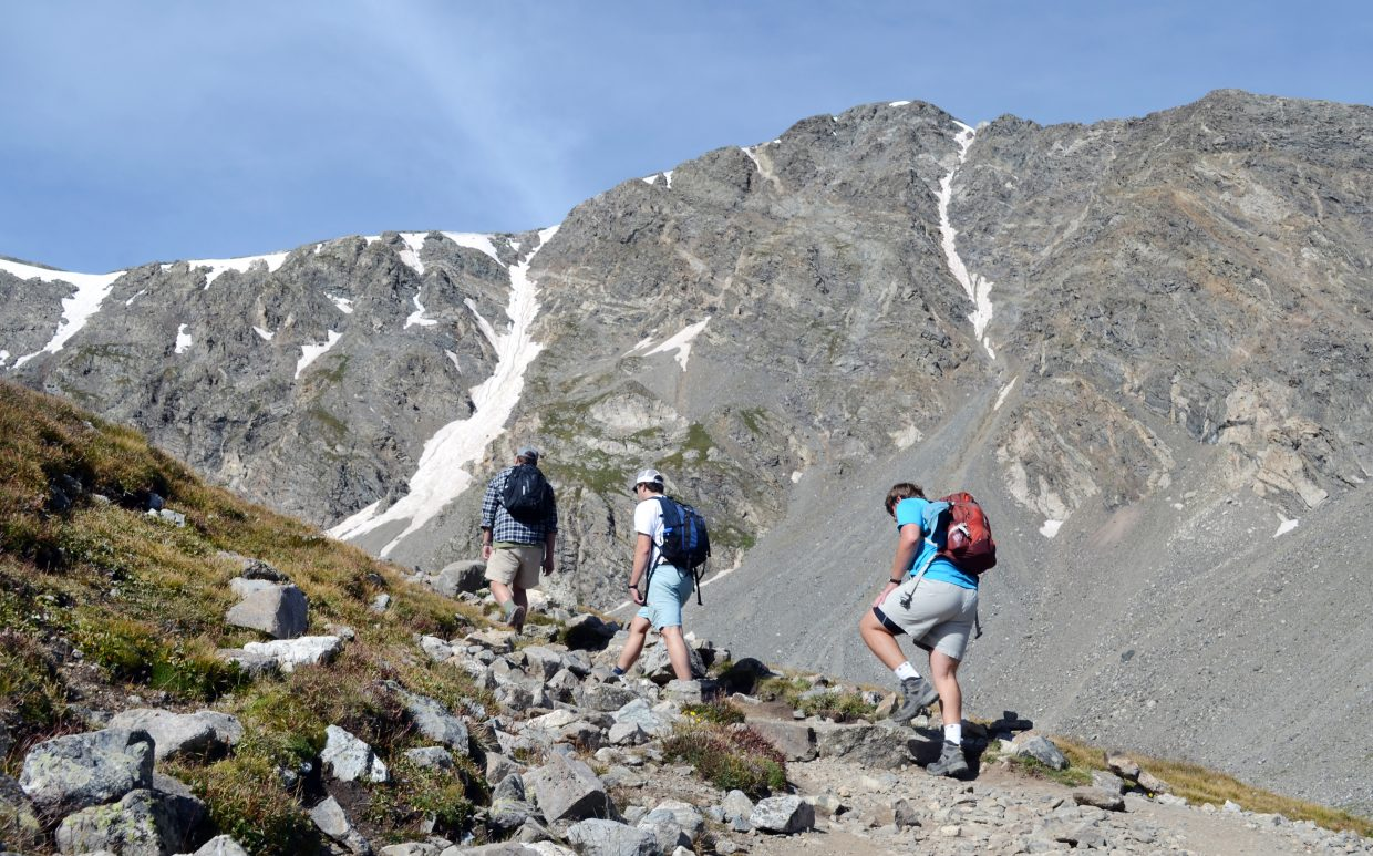 For much of the 8-mile round-trip hike to the summit of Grays Peak and Torreys Peak, the Colorado 14ers are in plain sight and offer a challenge to ascend to the top.