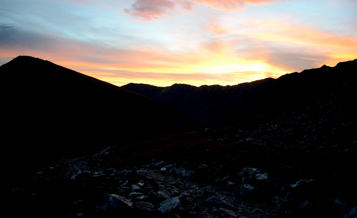 An early start when tackling a Colorado 14er means a grand sunrise, like this one leading up to Grays Peak.