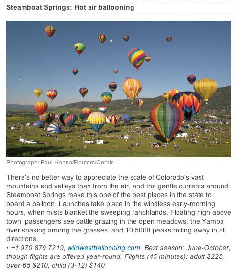 "The Guardian, ""Top 10 outdoor trips and activities in Colorado,"" July 20, 2013"
