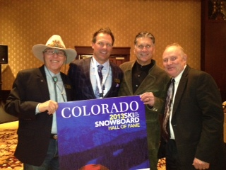 Steamboat was handsomely represented at Chad Fleischer's recent induction into the Colorado Ski & Snowboard Hall of Fame. Shown left to right: Billy Kidd, Chad, Erik Steinberg, and Jeff Temple. Submitted by: Hollis Brooks