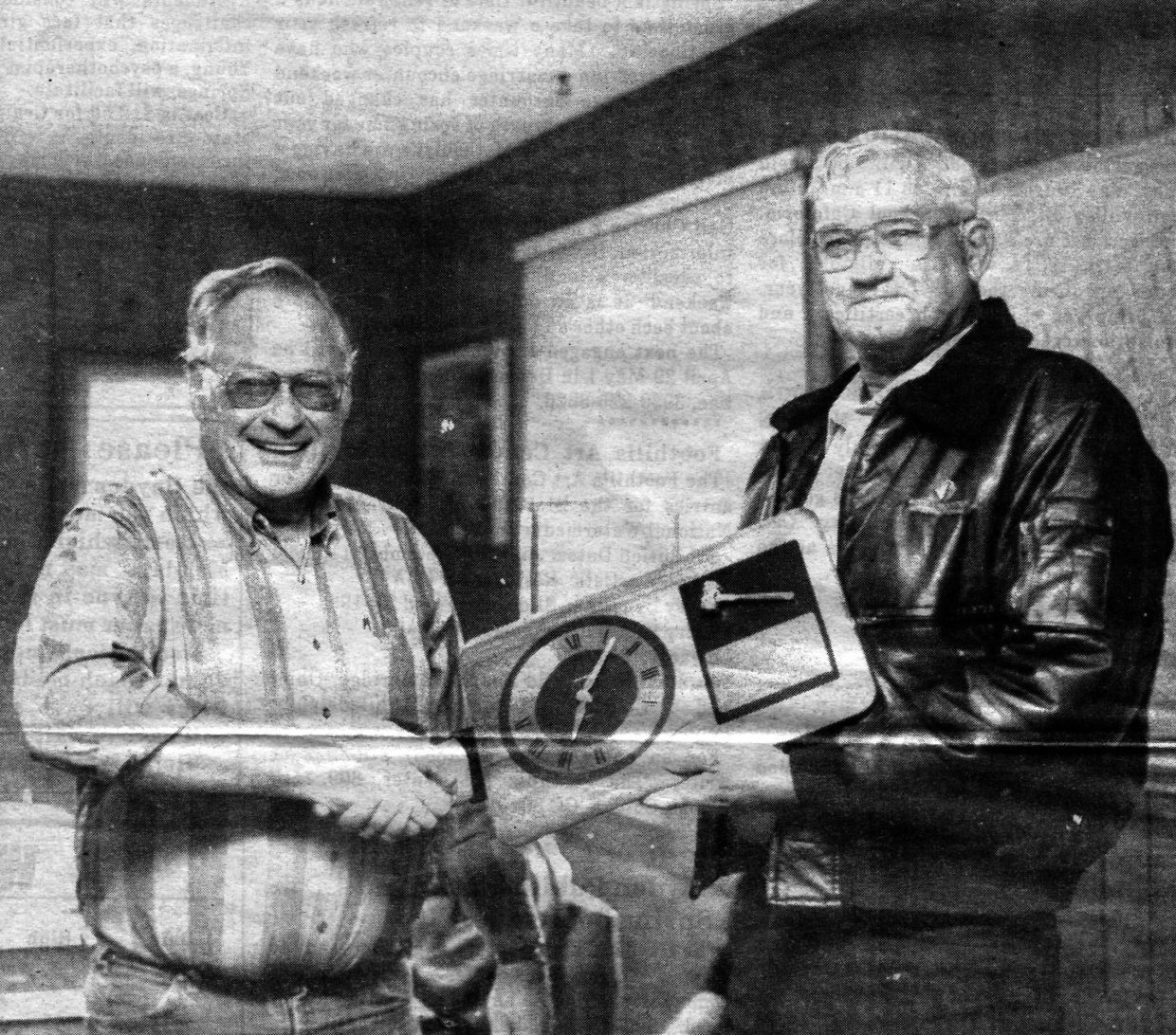 """Former Hayden Mayor Richard """"Dick"""" Roberts, left, presents municipal Judge John Hays with a plaque May 3, 1994, for serving the town of Hayden from 1977 to 1994."""