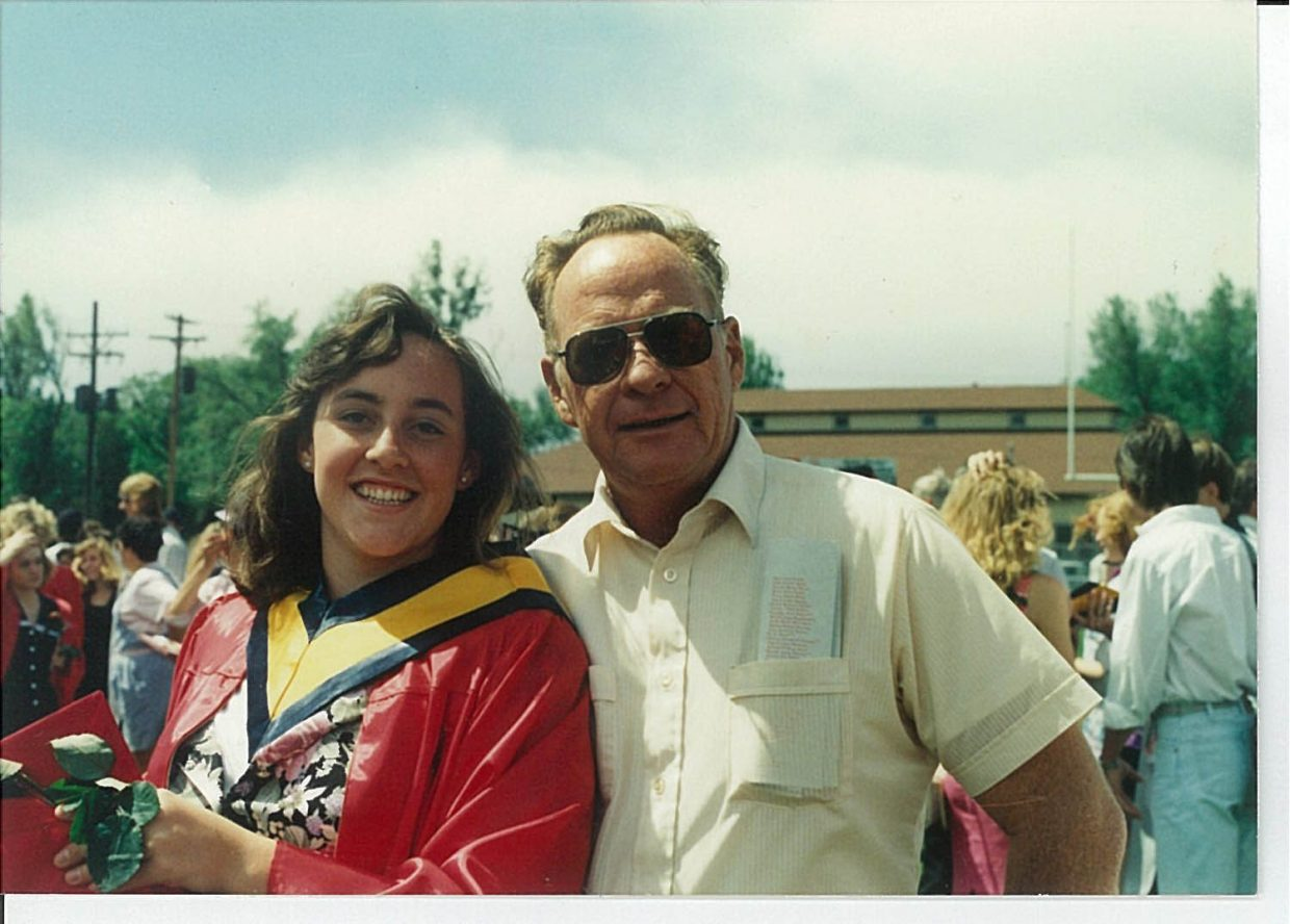 """Gayle Roberts and her father, former Hayden Mayor Richard """"Dick"""" Roberts, at her graduation from Central High School in Grand Junction in 1991."""