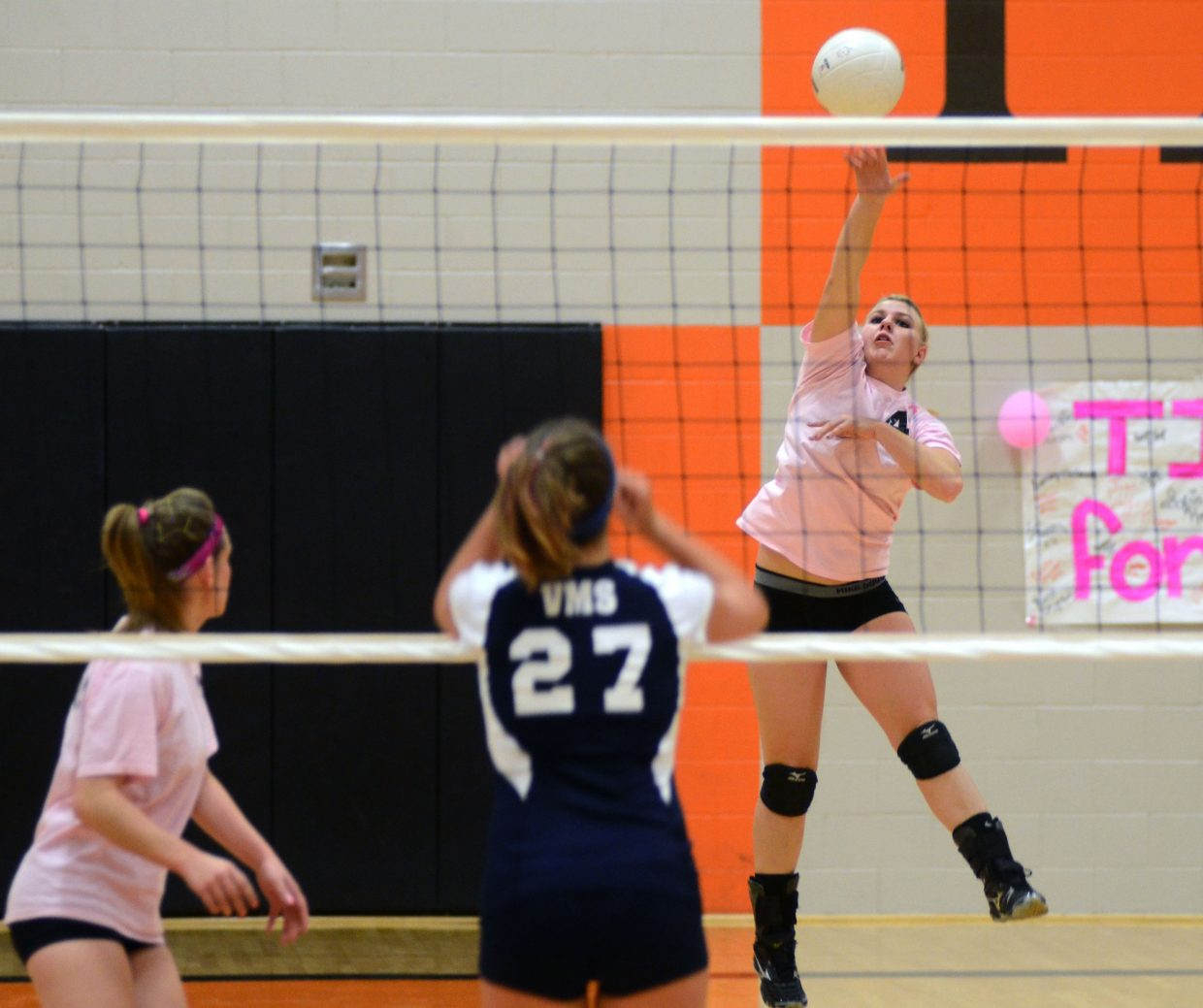Hayden's Jordan Temple hammers home a kill in Friday night's 3-0 sweep of Vail Mountain. Tigers coach Christene Planansky called Temple's effort Friday an adrenaline rush.