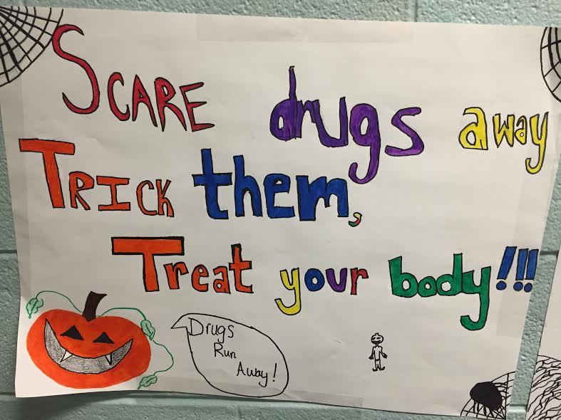 A student-made sign in Hayden encourages students to take care of their bodies.