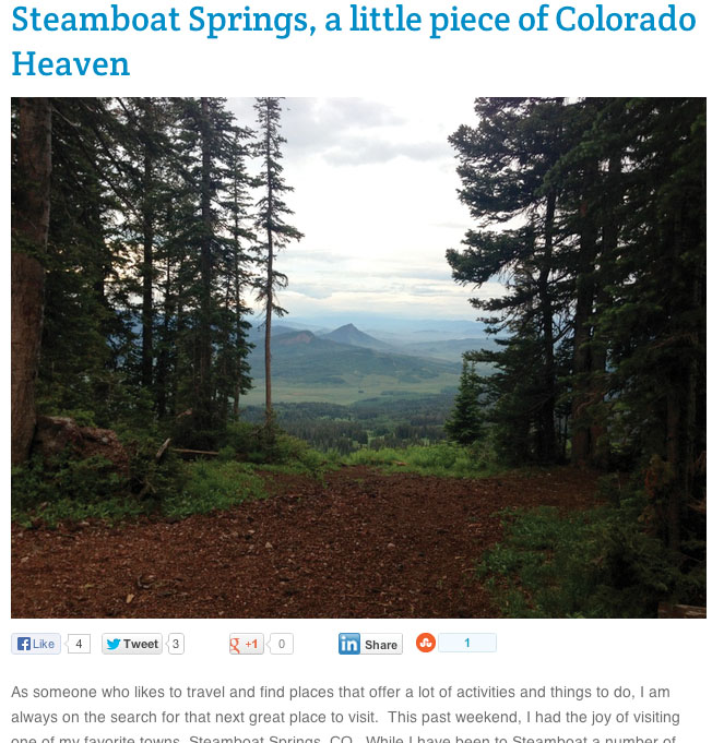 "Active Gear Review, ""Steamboat Springs, a little piece of Colorado Heaven,"" July 2013"