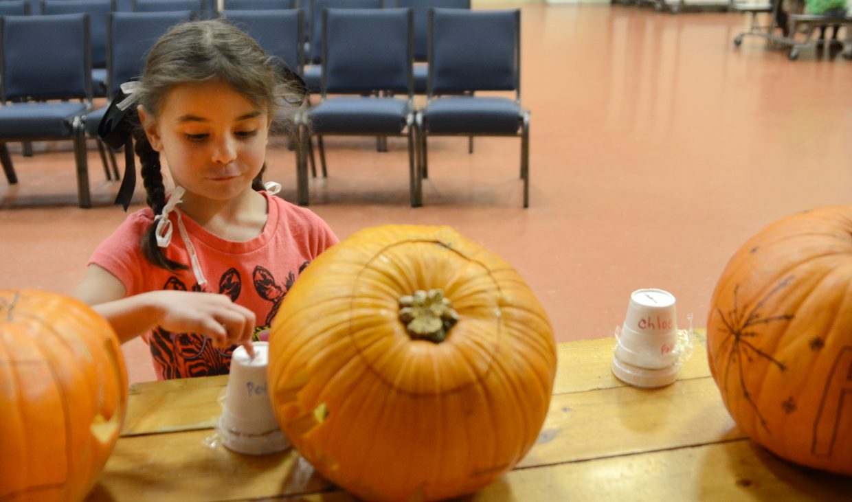 """Kindergartner Sophia Rose Boyd drops in her voting ballot for her favorite pumpkin Friday during Heritage Christian School's annual fall festival with a 2014 theme of """"Around the World."""""""