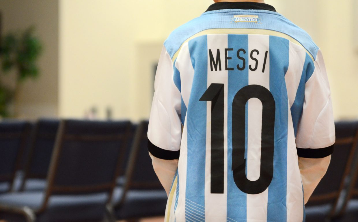 Heritage Christian School third-grader Kyan Strong represents Argentina with his Lionel Messi jersey Friday during the school's annual fall festival.