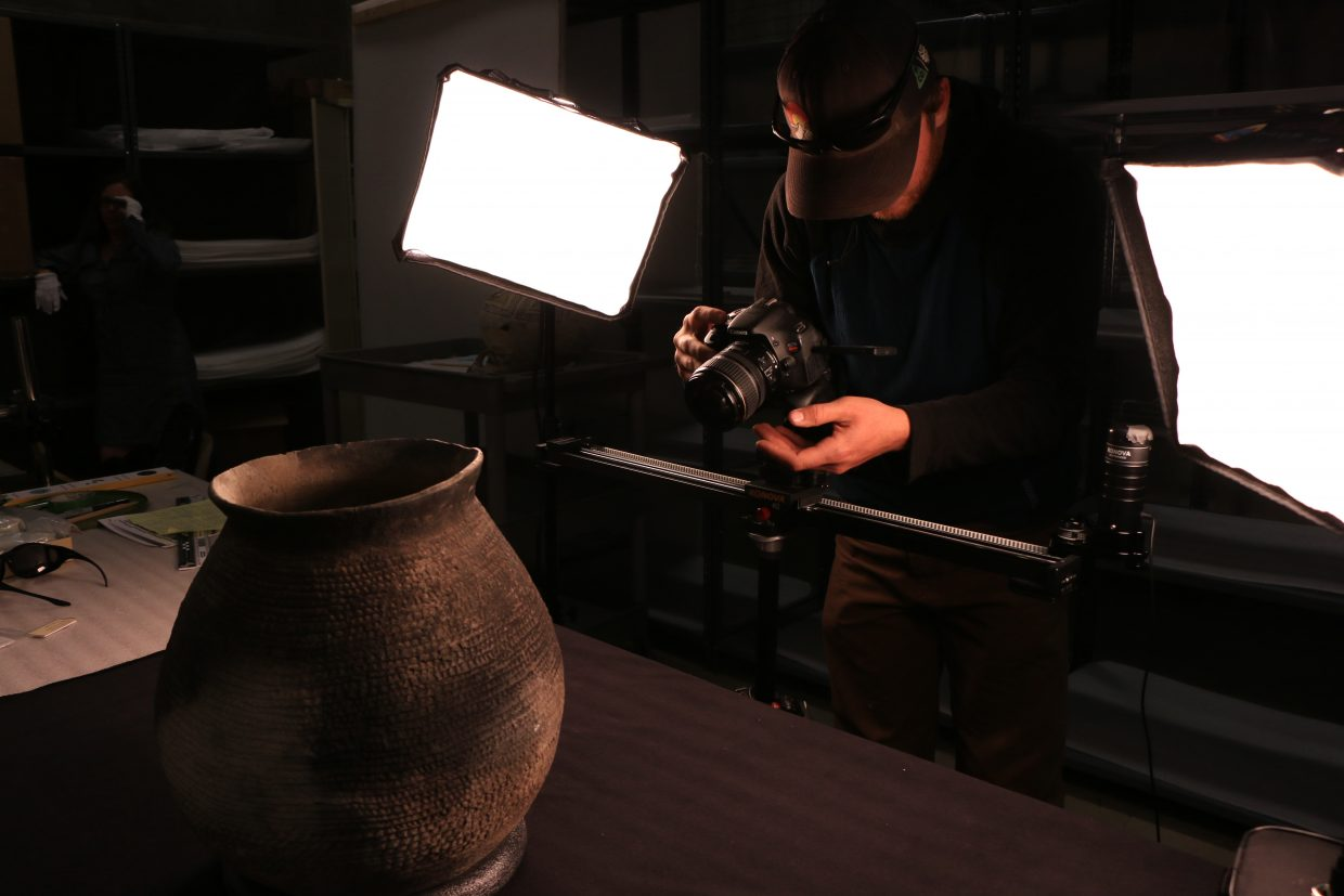Filmmaker Ben Saheb is filming a 900 year old cookware/pottery bowl at the Anasazi Heritage Center & Canyons of the Ancients National Monument, a museum in Dolores of the Ancestral Puebloan (or Anasazi ) Culture and other Native cultures in the area. Part of Rig to Flip's story discusses longterm human occupation in the region with farming being in this area for a long time.