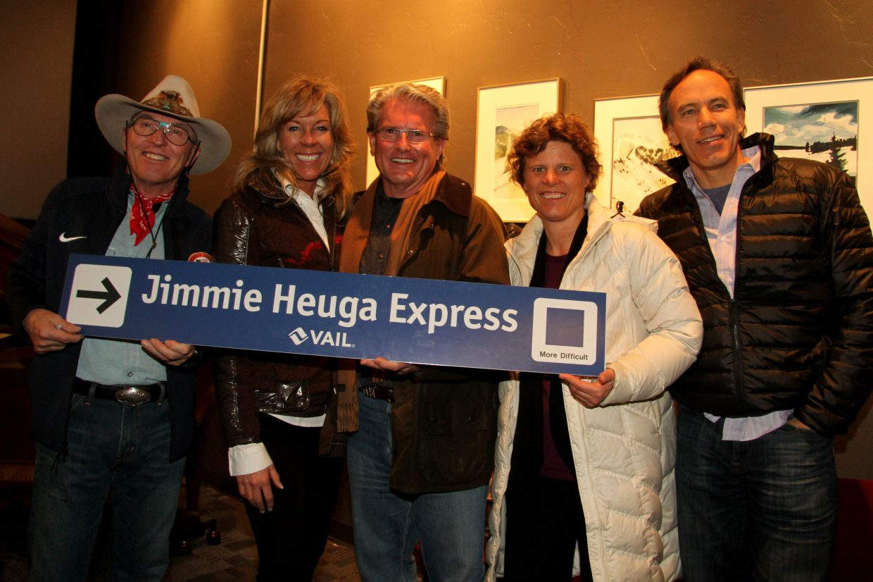 Steamboat Honors '64 Olympian Jimmie Heuga. Supporting a recent fundraiser for the CAN DO Center for MS at the Chief Plaza Theater were, from left, Steamboat Resort's Billy Kidd, realtor Michelle Avery, Slopeside Grill owner Bill Banks, SSWSC's Debbie Armstrong, and CAN DO Center board member Jeff Olsen. The trail sign was won at auction by Banks, to display at Slopeside. Photo by Jim Heath. Submitted by Hollis Brooks.