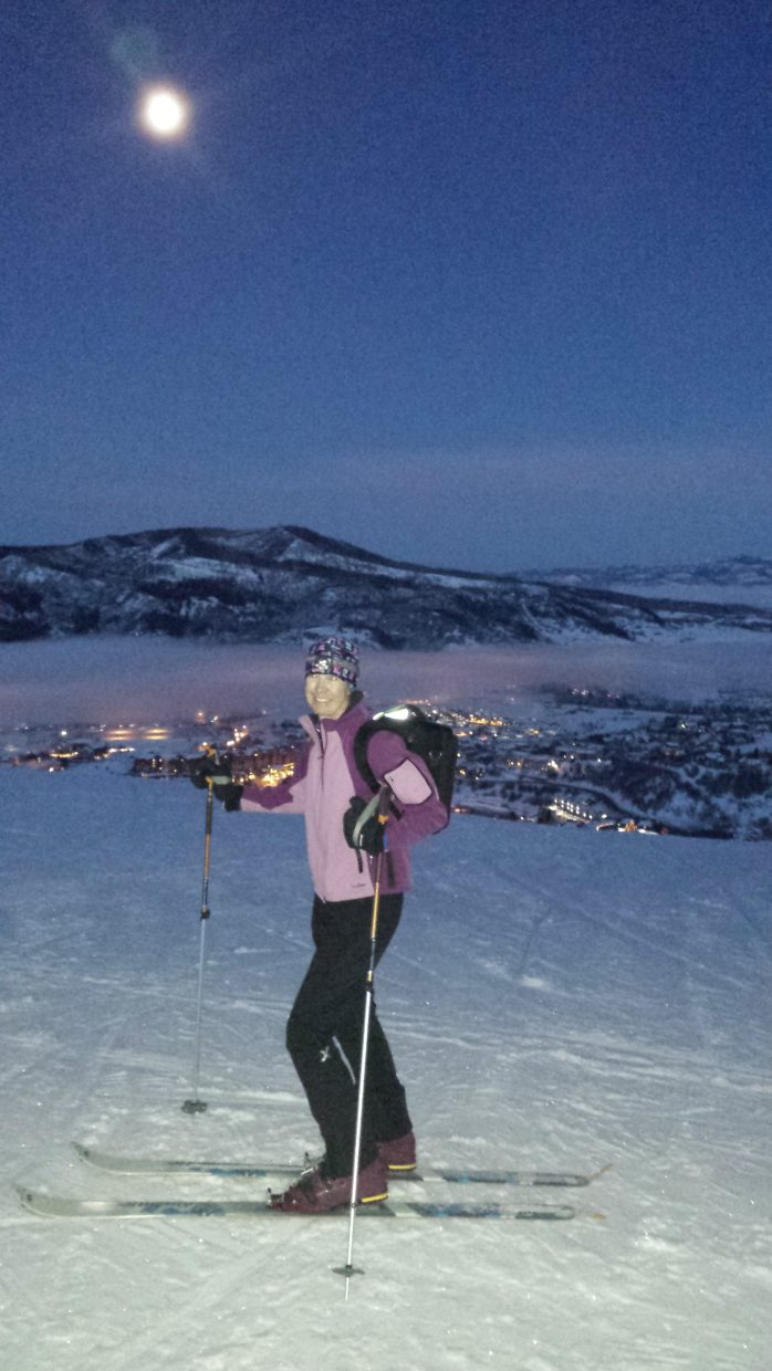 A morning skin up Mt. Werner before work. Beautiful moon, lights of Steamboat Springs below and off to work by 8 am. Submitted by: Johanna Hall.
