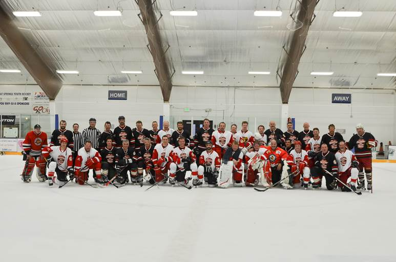 Members of the Detroit Red Wings and Chicago Blackhawks alumni pose after the 2015 NHL Alumni Classic, which raised a record $30,000 for Steamboat Springs youth hockey.