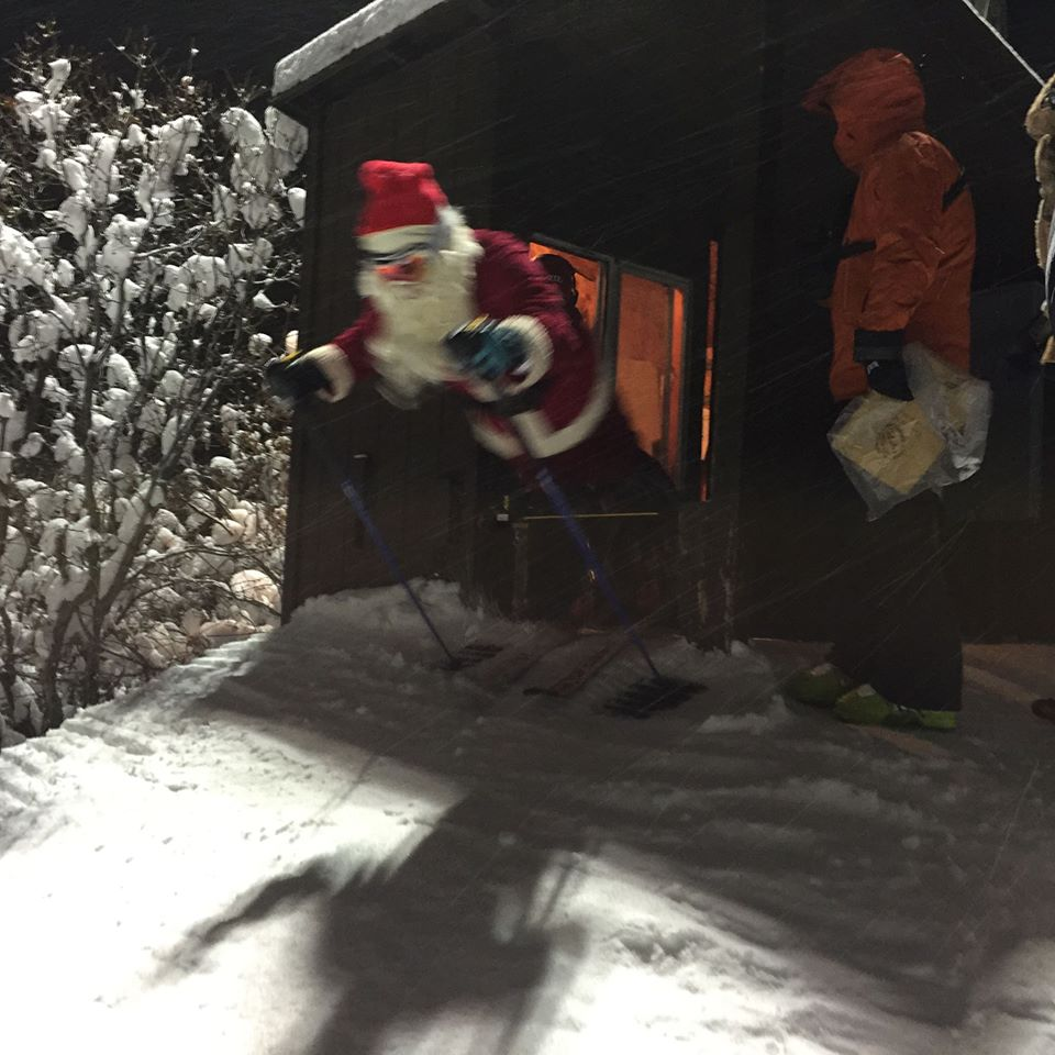 Santa as the forerunner at the Sunday night Slalom FIS ski races on Howelsen. Submitted by: Mark Barounos
