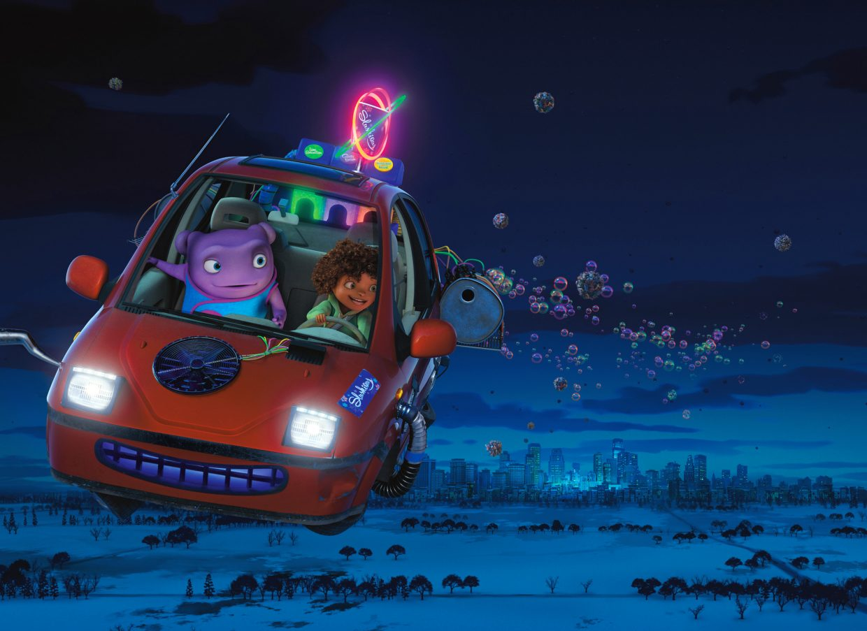 """The odd couple of Oh (voice of Jim Parsons) the alien and teenage Earth girl Tip (Rihanna) take to the skies in a flying car in """"Home."""" The movie is about a member of an alien race called the Boov who does not fit in with his own people and finds himself on a road trip with a stranded girl when his people invade Earth."""