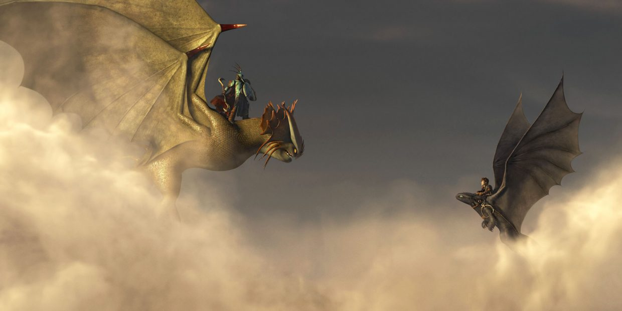 """Hiccup (Jay Baruchel) and Toothless encounter a fellow dragon and its rider in """"How to Train Your Dragon 2."""" The movie is a sequel to the 2010 cartoon about a group of Vikings and their experiences with the flying creatures."""