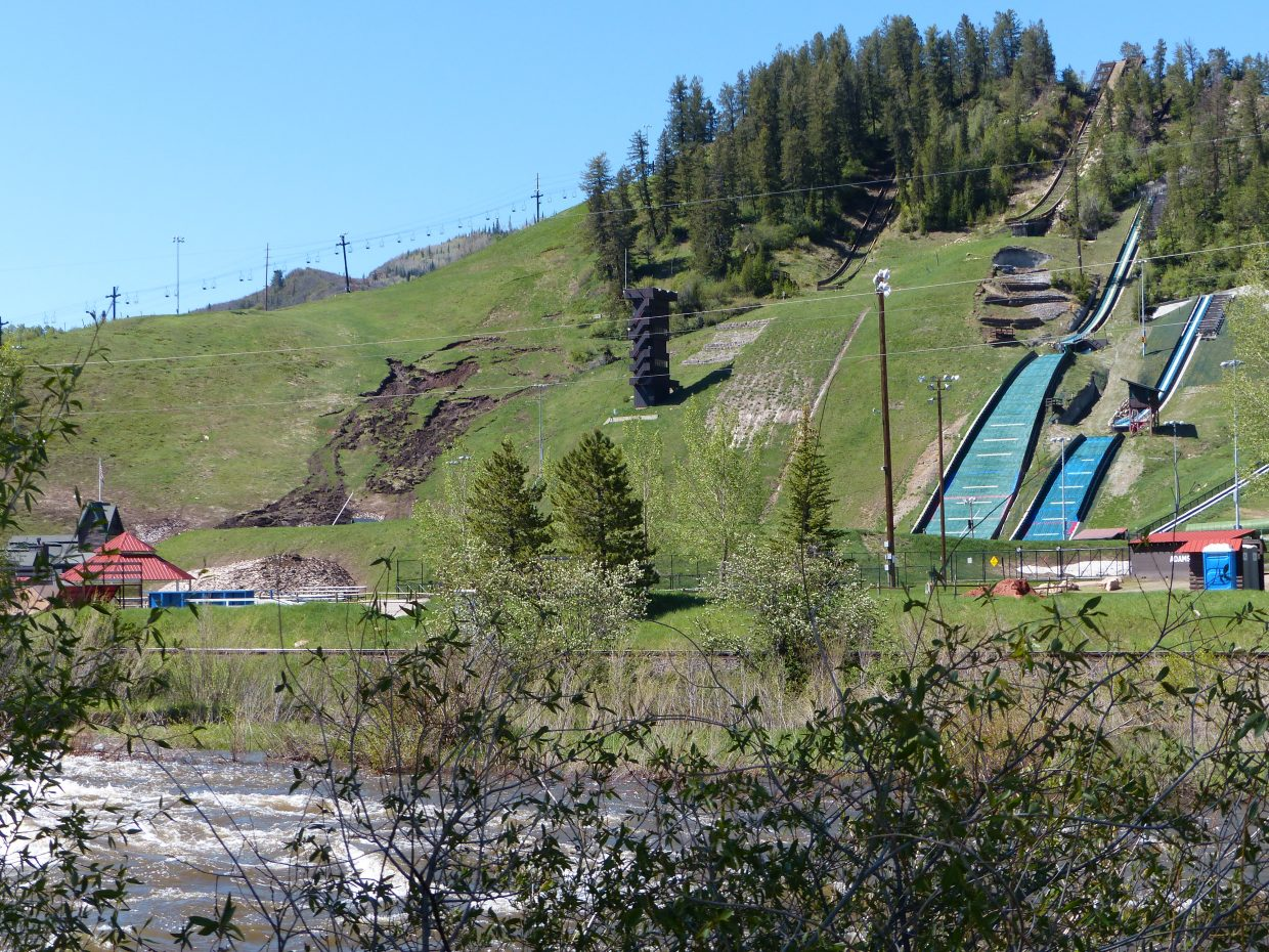 Here is the mud sliding down Howelsen Hill in Steamboat. You can also see the ski jumps and the Yampa River is in the foreground. Submitted by: Shannon Lukens