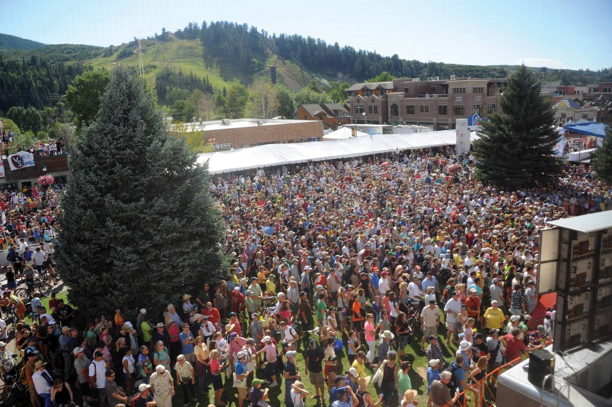 Thousands packed the Routt County Courthouse lawn after the 2011 USA Pro Challenge in Steamboat Springs.