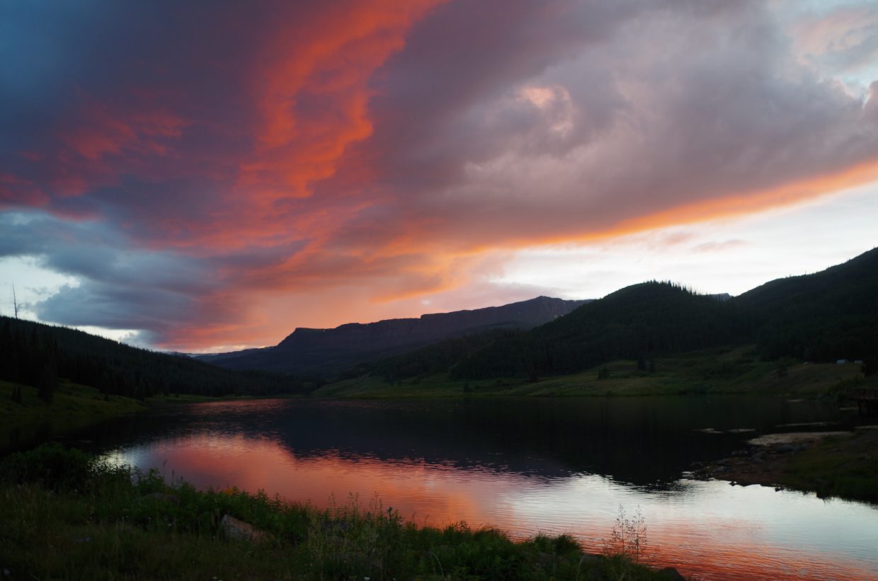 Here is a sunset picture on Monday night from the Upper Stillwater Reservoir in the Flat Tops Wilderness.